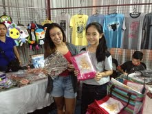 Andee and Julia's booth! Julia sold ballet-themed items, consistent with her being a ballerina. Andee sold other cute bags and wallets. :)