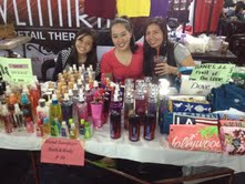 Yela's booth! She, her sister and mom sold shirts, colognes, credit card holders. :)
