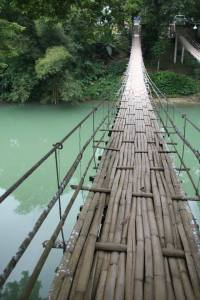 Hanging bridge over the Loboc river.