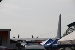 The only shot  I have of a C130, from outside the Grandstand. I was told not to take pictures once inside, though nobody told me not to bring my camera in (it was hanging on my neck the whole time). I complied out of respect for the survivors. Believe me, I so wanted to take pictures, haha. :)